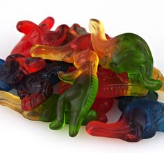 Dinosaur gummies- good for putting on cupcakes or for pretending I am a T-Rex. Dinosaur birthday party theme