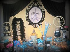 Paris themed candy table in Tiffany blue, white and black