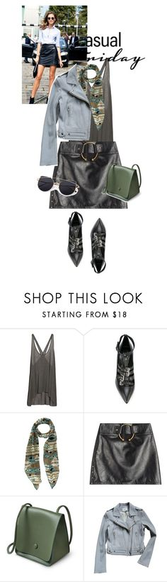"""off weekend happy sunday!"" by black-eclipse-red-sky ❤ liked on Polyvore featuring Helmut Lang, Casadei, Anthony Vaccarello, IRO, denim, GREEN, grey and leatherskirt"