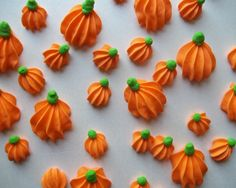 items similar to royal icing pumpkins halloween autumn fall cake decorations cupcake toppers pieces on etsy - Edible Halloween Decorations