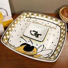 Georgia Tech Yellow Jackets Gameday Ceramic Chip & Dip Serving Tray #UltimateTailgate #Fanatics