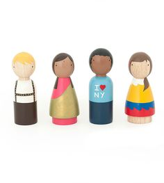 Four wooden peg dolls representing children from around the world. These adorable wooden toys will inspire your little one to have a creative open-ended playtime. Make up a story, learn about another