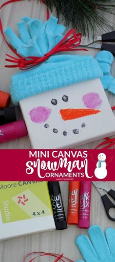 Mini Canvas Snowman Ornaments - A Quick & Simple {Super Cute!} Christmas Kids Craft Tutorial - mini canvases, old mittens, and a few other simple supplies! Perfect handmade kids gifts for friends and family and for hanging on your own Christmas tree! Christmas Canvas, Christmas Crafts For Kids, Xmas Crafts, Diy Christmas Gifts, Christmas Fun, Preschool Christmas, Christmas Paintings, Homemade Christmas, Snowman Crafts