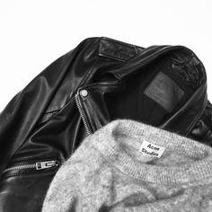 All Saints Leather Jacket & Acne Studios Mohair knit. Flat lay via OVRSLO. #acnestudios #allsaints #ovrslo