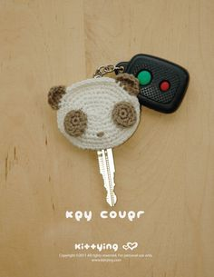 CROCHET PATTERN Panda Key Cover Instant PDF Download por meinuxing