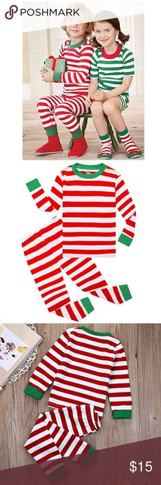 Boys Christmas Candy Striped Red White PJ Pajamas Must have this Holiday Season! Soft Comfortable Fabric  Great Fit. Will be your boy's favorite outfit this season!       2 Piece Set comes with PJ Top & Bottoms Matching Sets