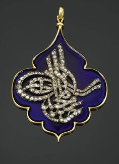 A late-Ottoman diamond and enamel pendant with 'tughra' (official seal) of Sultan Abdulmajid I (1823–1861). Mid-19th c.