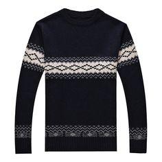 Para hombre de la moda de invierno suéter del color del encanto del collar del o-cuello del suéter ocasional prendas de punto