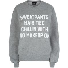 Private Party Sweatpants Hair Tied Sweater (4,805 DOP) ❤ liked on Polyvore featuring tops, shirts, sweaters, sweatshirt, slogan shirts, party tops, jersey shirts, going out shirts and night out tops