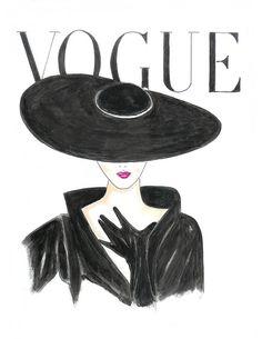 Drucken Sie Aquarelle rote Lippen 50er Jahre Vogue Poster von Zoia