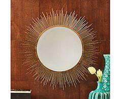 Miroir mural métal et corde, doré - Ø61