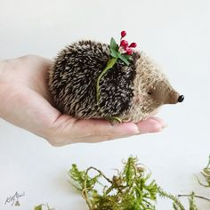Collectible Forest Hedgehog Villy  3 inches by KittyAprilHandmade