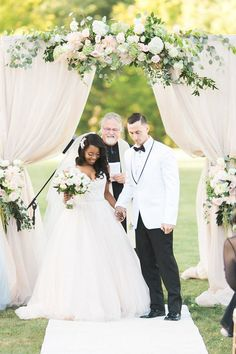 Custom Mink color drapes for this romantic / timeless ceremony in New Hampshire Mink Colour, Color, Chuppah, Hampshire, Corporate Events, Floral Design, Wedding Photography, Romantic, Wedding Dresses