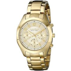 Caravelle New York Gold-Tone Stainless Steel Watch ($67) ❤ liked on Polyvore featuring jewelry, watches, crown jewelry, bulova wristwatches, gold tone jewelry, bulova watches and stainless steel watches