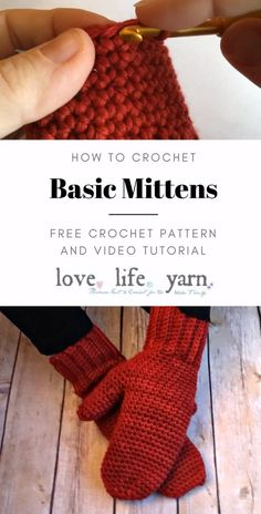 This close up video tutorial and free crochet pattern will walk you through every step of these mittens using only single crochet. Both right and left handed versions are available. Sie Kleidung Muster Videos How to Crochet: Basic Mittens Crochet Mittens Free Pattern, Crochet Motifs, Free Knitting, Knit Crochet, How To Knit Mittens, Crotchet, Easy Crochet Slippers, Crochet Kids Scarf, Fingerless Gloves Crochet Pattern