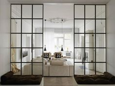 Creative Tips Can Change Your Life: Room Divider Kitchen Decor room divider wall storage.Portable Room Divider Classroom bamboo room divider home depot. Steel Windows, Glass Partition Wall, Glass Room Divider, Industrial Living Room Design, Industrial Livingroom, Room Divider Walls, Room Design, Sliding Room Dividers, Glass Room