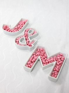 This letter trays are a great idea for a candy bar.  You can spell out your whole name with candy in the trays. Love them? You can purchase them on BridalElements.com