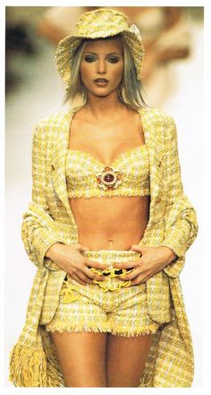 Yellow tweed summer 3 piece with matching hat. Chanel, early 90's