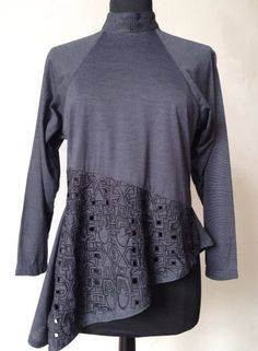 Stylish Xiao Studio Gray Asymmetric Embroidered Top, Comme des Garcons #XiaoStudio #KnitTop #Casual