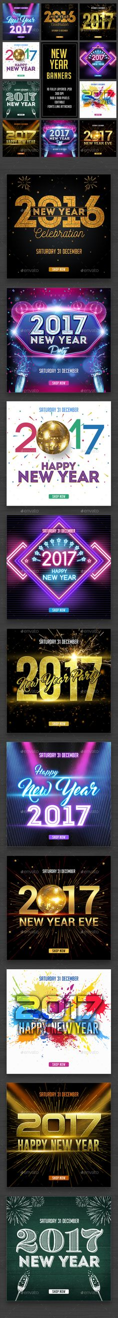 New Year Banner Templates PSD
