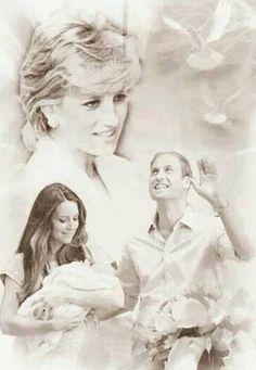 Princess Diana, Prince William, Kate, and Princess Charlotte Elizabeth Diana Princess Diana Family, Royal Princess, Prince And Princess, Princess Charlotte, Princess Of Wales, Princess Katherine, Prince William Family, Prince William And Kate, William Kate