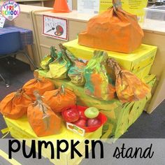 Pumpkin Patch Dramatic Play (pumpkin stand): How to set it up in your preschool, pre-k, tk, and kindergarten classroom The New School, New School Year, First Day Of School, Back To School Hacks, Back To School Activities, Dramatic Play Centers, Play Centre, Painted Pumpkins, A Pumpkin