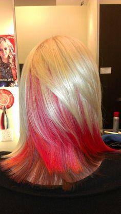 Blonde by myself, red & orange Elumen color by Goldwell and Brown. :)
