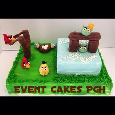 Angry Birds sheet cake for an Icing Smiles Birthday. Fondant accents. Event Cakes Pgh in Pittsburgh, PA