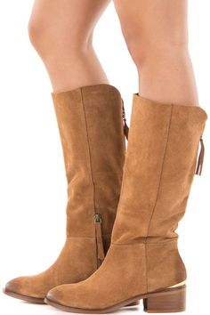 1a2ea3969c6 Tan Suede Boot with Metallic Heel Detail for Sale