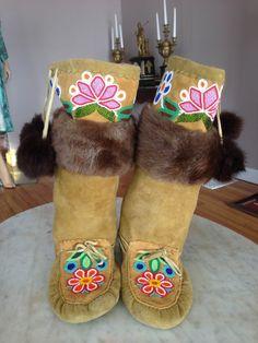 Northern Plains Indians mukluks moccasins boots hide fur glass beads Cree VTG