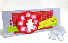 Sparkly, Poufy and Bright by Jean Okimoto for the Memory Box Design Team Enjoy Your Weekend, Berry Wreath, Label Paper, Plaid Christmas, Box Design, Clear Stamps, Snow Globes, Holiday Cards, Garland