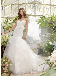 Beautiful Mermaid Sweetheart Court Train Tiered Tulle Skirt Lace Wedding Dresses Bridal Gowns 2302030