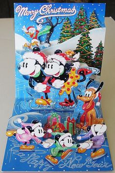 Vintage Disney Pop Up Christmas Card - Mickey & Minnie