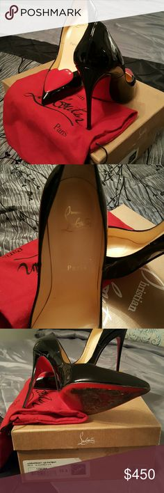 Corafront 120 Patent Black/Red Barely worn, excellent condition, shoe bag included. AUTHENTIC Christian Louboutin Shoes Heels