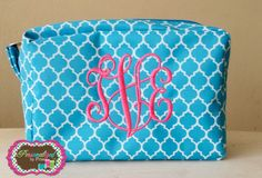 Monogrammed Quatrefoil Cosmetic Bag **Large Monogram** by PersonalizedbyPriss on Etsy