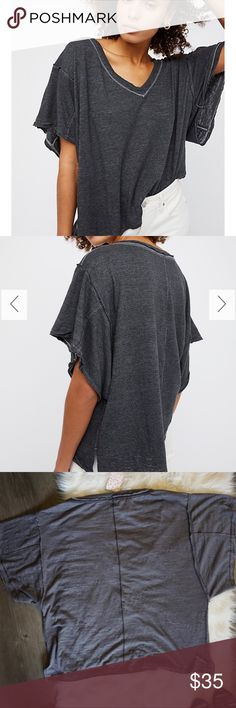 Free People We The Free Boyfriend Tee NWT Boyfriend Tee from fp. Color is black but looks more gray. Stitching on shirt for sale is black around neckline where as stock shows it as white. No trades. Open to reasonable offers. Free People Tops Tees - Short Sleeve