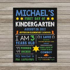 First Day of Kindergarten Chalkboard Back to School