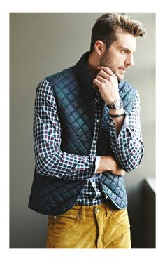Richards Men's Fashion 2013 Lookbook  LOVE the jeans and quilted vest...AND LOVE THE HAIR