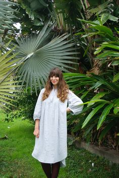 Mood Fabrics Gray Stripe Linen | Burda shirtdress