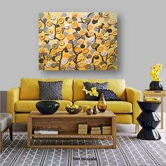 ON SALE NOW Large 2x3 feet Acrylic Painting 3D impasto abstract flowers gray & yellow theme for nursery or Living area on a 24x36 canvas on Etsy, $269.00