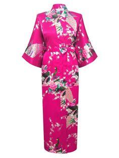 08c2ed275a Blue Plus Size XXXL Chinese Women Satin Robe Gown Japanese Geisha Yukata  Kimono Bathrobe Sexy Sleepwear Flower Nightgown