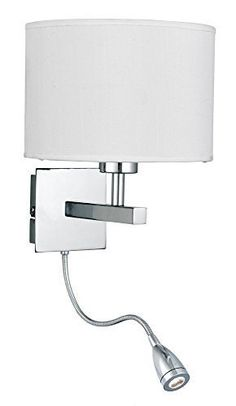 ONEPRE Modern Satin Chrome Bedside Wall lamp Swing Arm Wall Light with Flexible LED adjustable Reading Light, White Fabric Shade ,2 Switches ONEPRE http://www.amazon.co.uk/dp/B016EVSHTO/ref=cm_sw_r_pi_dp_Rhu7wb19WG743