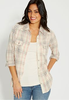 button down plaid shirt  (original price, $32) available at #Maurices