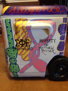 Frat cooler fraternity cooler painted cooler sigma phi epsilon sig ep ties now ties