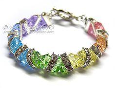 Swarovski Bracelet, Sweet Rainbow Crystal Cuff Bracelet by CandyBead. $20.00, via Etsy.