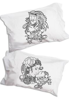 i normally don't go for his/her stuff (i think it's cheesy and also super heteronormative) but matching tattoo flash pillowcase pair? pretty cute.