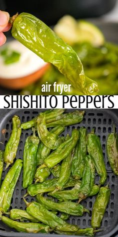 Air frying shishito peppers are simple and delicious! The air fryer chars the skin giving you cute little bite sized Japanese peppers with a nice burst of flavor mild or spicy flavor.