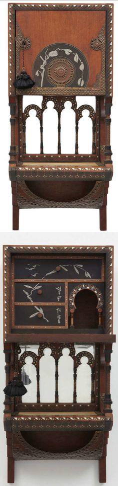 CARLO BUGATTI hanging cabinet with mirror, 32 in. high, 1900