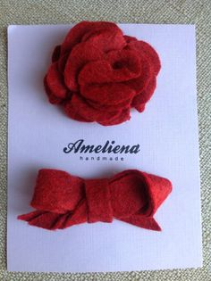 Valentines Day Flower & Bow Red Felt Hair Clips by CourtneyRenkema on Etsy, $7.99