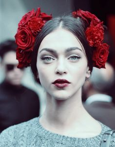 desire-vogue: Zhenya Katava after Dolce & Gabbana Spring 2015. Make up.
